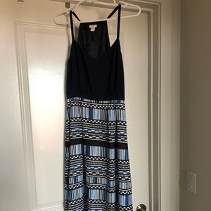 J. Crew Blue Geometric Patterned Maxi Dress